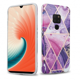 Cadorabo Hülle für Huawei MATE 20 Hülle in Lila Welle Marmor No.14 Handyhülle aus TPU Silikon mit Muster Mosaik Silikonhülle Schutzhülle Ultra Slim Back Cover Case Bumper