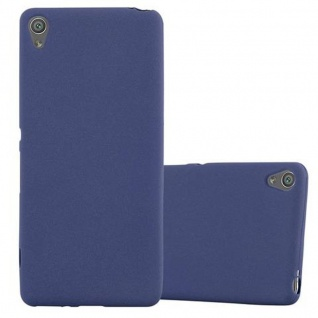 Cadorabo Hülle für Sony Xperia XA - Hülle in FROST DUNKEL BLAU ? Handyhülle aus TPU Silikon im matten Frosted Design - Ultra Slim Soft Backcover Case Bumper