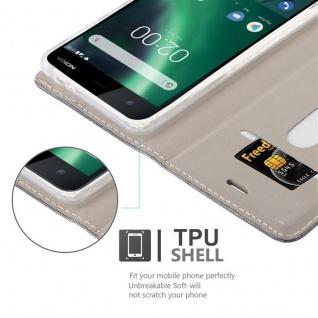 Cadorabo Hülle für Nokia 2 2017 in GRAU SCHWARZ - Handyhülle mit Magnetverschluss, Standfunktion und Kartenfach - Case Cover Schutzhülle Etui Tasche Book Klapp Style - Vorschau 2