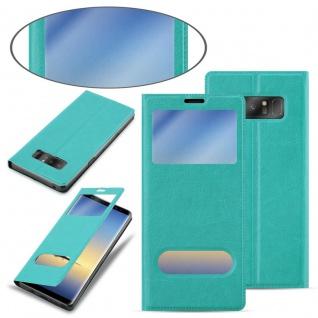 Cadorabo Hülle für Samsung Galaxy NOTE 8 in MINT TÜRKIS - Handyhülle mit Magnetverschluss, Standfunktion und 2 Sichtfenstern - Case Cover Schutzhülle Etui Tasche Book Klapp Style - Vorschau 3
