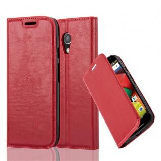 Cadorabo Hülle für Motorola MOTO G2 in APFEL ROT Handyhülle mit Magnetverschluss, Standfunktion und Kartenfach Case Cover Schutzhülle Etui Tasche Book Klapp Style