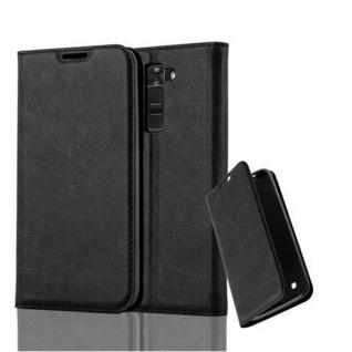 Cadorabo Hülle für LG K7 2017 in NACHT SCHWARZ - Handyhülle mit Magnetverschluss, Standfunktion und Kartenfach - Case Cover Schutzhülle Etui Tasche Book Klapp Style