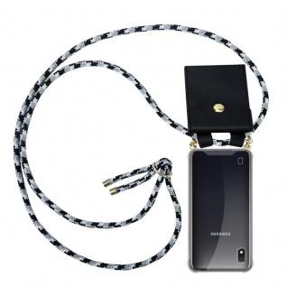 Cadorabo Handy Kette für Samsung Galaxy M10 in SCHWARZ CAMOUFLAGE - Silikon Necklace Umhänge Hülle mit Gold Ringen, Kordel Band Schnur und abnehmbarem Etui ? Schutzhülle