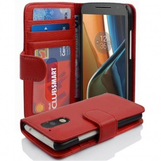 Cadorabo Hülle für Motorola MOTO G4 / G4 PLUS in INFERNO ROT ? Handyhülle mit Magnetverschluss und 3 Kartenfächern ? Case Cover Schutzhülle Etui Tasche Book Klapp Style