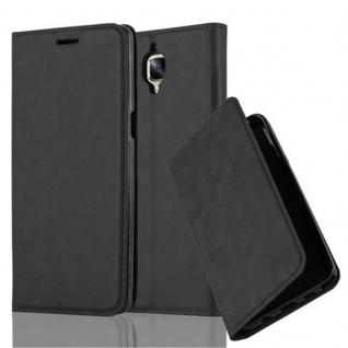 Cadorabo Hülle für OnePlus 3 / 3T in NACHT SCHWARZ - Handyhülle mit Magnetverschluss, Standfunktion und Kartenfach - Case Cover Schutzhülle Etui Tasche Book Klapp Style