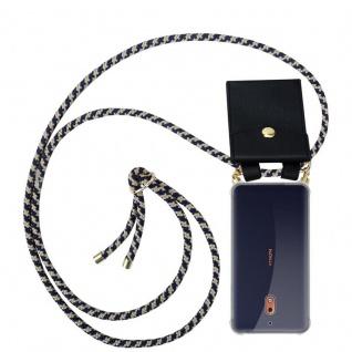 Cadorabo Handy Kette für Nokia 2.1 2018 in DUNKELBLAU GELB Silikon Necklace Umhänge Hülle mit Gold Ringen, Kordel Band Schnur und abnehmbarem Etui Schutzhülle