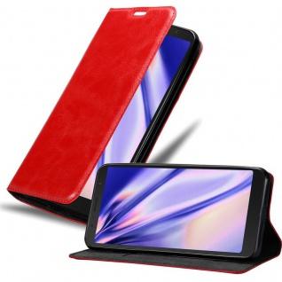 Cadorabo Hülle für Alcatel 3C in APFEL ROT Handyhülle mit Magnetverschluss, Standfunktion und Kartenfach Case Cover Schutzhülle Etui Tasche Book Klapp Style