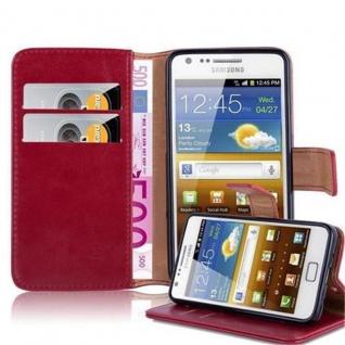 Cadorabo Hülle für Samsung Galaxy S2 / S2 PLUS in WEIN ROT - Handyhülle mit Magnetverschluss, Standfunktion und Kartenfach - Case Cover Schutzhülle Etui Tasche Book Klapp Style