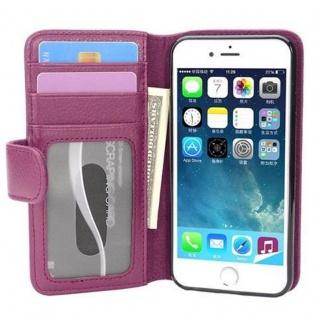 Cadorabo Hülle für Apple iPhone 7 / iPhone 7S / iPhone 8 in BORDEAUX LILA - Handyhülle mit Magnetverschluss und 3 Kartenfächern - Case Cover Schutzhülle Etui Tasche Book Klapp Style
