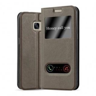Cadorabo Hülle für Samsung Galaxy S7 in STEIN BRAUN - Handyhülle mit Magnetverschluss, Standfunktion und 2 Sichtfenstern - Case Cover Schutzhülle Etui Tasche Book Klapp Style