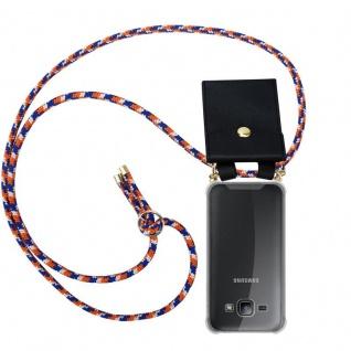Cadorabo Handy Kette für Samsung Galaxy J1 2015 in ORANGE BLAU WEISS - Silikon Necklace Umhänge Hülle mit Gold Ringen, Kordel Band Schnur und abnehmbarem Etui ? Schutzhülle