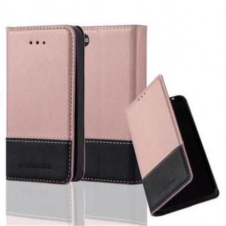 Cadorabo Hülle für Apple iPhone 4 / iPhone 4S in ROSÉ GOLD SCHWARZ - Handyhülle mit Magnetverschluss, Standfunktion und Kartenfach - Case Cover Schutzhülle Etui Tasche Book Klapp Style