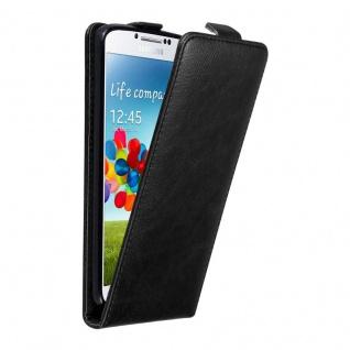 Cadorabo Hülle für Samsung Galaxy S4 in NACHT SCHWARZ Handyhülle im Flip Design mit unsichtbarem Magnetverschluss Case Cover Schutzhülle Etui Tasche Book Klapp Style