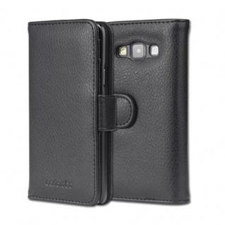 Cadorabo Hülle für Samsung Galaxy A3 2015 in OXID SCHWARZ - Handyhülle mit Magnetverschluss und 3 Kartenfächern - Case Cover Schutzhülle Etui Tasche Book Klapp Style