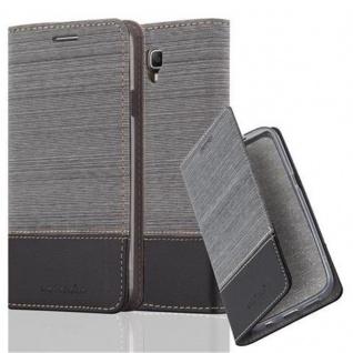 Cadorabo Hülle für Samsung Galaxy NOTE 3 NEO - Hülle in GRAU SCHWARZ ? Handyhülle mit Standfunktion und Kartenfach im Stoff Design - Case Cover Schutzhülle Etui Tasche Book