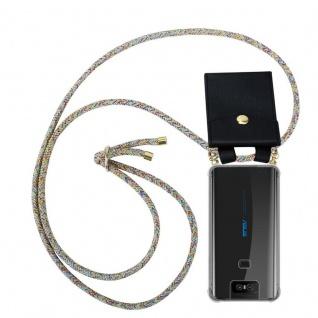 Cadorabo Handy Kette für Asus ZenFone 6 in RAINBOW - Silikon Necklace Umhänge Hülle mit Gold Ringen, Kordel Band Schnur und abnehmbarem Etui ? Schutzhülle