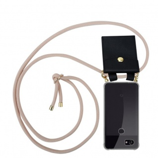 Cadorabo Handy Kette für Google Pixel 2 in PERLIG ROSÉGOLD - Silikon Necklace Umhänge Hülle mit Gold Ringen, Kordel Band Schnur und abnehmbarem Etui ? Schutzhülle