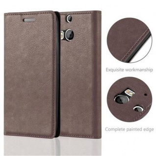 Cadorabo Hülle für HTC ONE M8 (2.Generation) in KAFFEE BRAUN - Handyhülle mit Magnetverschluss, Standfunktion und Kartenfach - Case Cover Schutzhülle Etui Tasche Book Klapp Style - Vorschau 2