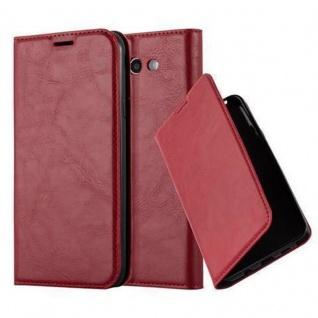 Cadorabo Hülle für Samsung Galaxy J3 2017 US Version in APFEL ROT - Handyhülle mit Magnetverschluss, Standfunktion und Kartenfach - Case Cover Schutzhülle Etui Tasche Book Klapp Style