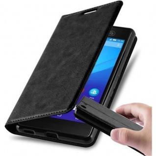 Cadorabo Hülle für Sony Xperia M5 in NACHT SCHWARZ - Handyhülle mit Magnetverschluss, Standfunktion und Kartenfach - Case Cover Schutzhülle Etui Tasche Book Klapp Style