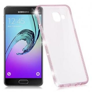 Cadorabo Hülle für Samsung Galaxy A3 2016 - Hülle in TRANSPARENT ROSA ? Handyhülle aus TPU Silikon im Strass Design - Silikonhülle Schutzhülle Ultra Slim Soft Back Cover Case Bumper - Vorschau 5