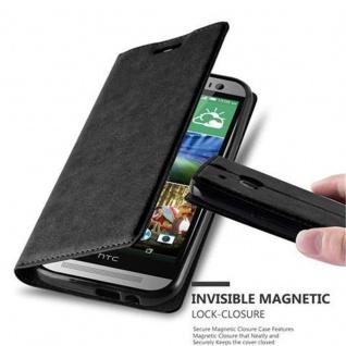 Cadorabo Hülle für HTC ONE M8 (2.Generation) in NACHT SCHWARZ - Handyhülle mit Magnetverschluss, Standfunktion und Kartenfach - Case Cover Schutzhülle Etui Tasche Book Klapp Style