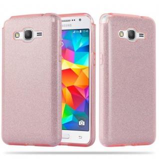 Cadorabo Hülle für Samsung Galaxy GRAND PRIME - Hülle in STERNENSTAUB PINK ? TPU Silikon und Hardcase Handyhülle im Glitzer Design - Hard Case TPU Silikon Schutzhülle