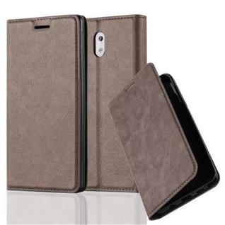 Cadorabo Hülle für Nokia 3 2017 in KAFFEE BRAUN - Handyhülle mit Magnetverschluss, Standfunktion und Kartenfach - Case Cover Schutzhülle Etui Tasche Book Klapp Style