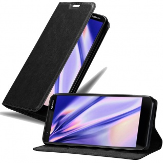 Cadorabo Hülle für Nokia 3.1 2018 in NACHT SCHWARZ Handyhülle mit Magnetverschluss, Standfunktion und Kartenfach Case Cover Schutzhülle Etui Tasche Book Klapp Style