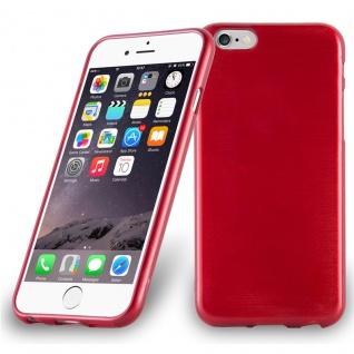 Cadorabo Hülle für Apple iPhone 6 PLUS / iPhone 6S PLUS - Hülle in ROT ? Handyhülle aus TPU Silikon in gebürsteter Edelstahloptik (Brushed Design) - Ultra Slim Soft Backcover Case Bumper
