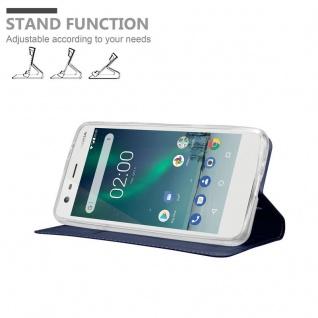 Cadorabo Hülle für Nokia 2 2017 in CLASSY DUNKEL BLAU - Handyhülle mit Magnetverschluss, Standfunktion und Kartenfach - Case Cover Schutzhülle Etui Tasche Book Klapp Style - Vorschau 4