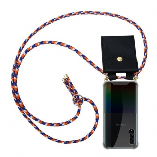 Cadorabo Handy Kette für Samsung Galaxy A90 5G in ORANGE BLAU WEISS Silikon Necklace Umhänge Hülle mit Gold Ringen, Kordel Band Schnur und abnehmbarem Etui Schutzhülle