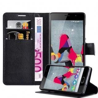 Cadorabo Hülle für WIKO SLIDE 2 in PHANTOM SCHWARZ Handyhülle mit Magnetverschluss, Standfunktion und Kartenfach Case Cover Schutzhülle Etui Tasche Book Klapp Style