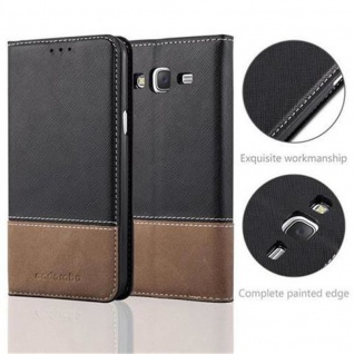 Cadorabo Hülle für Samsung Galaxy J5 2015 in SCHWARZ BRAUN ? Handyhülle mit Magnetverschluss, Standfunktion und Kartenfach ? Case Cover Schutzhülle Etui Tasche Book Klapp Style