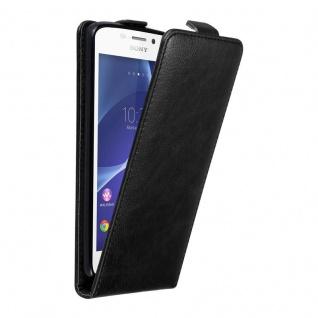Cadorabo Hülle für Sony Xperia M2 / M2 AQUA in NACHT SCHWARZ - Handyhülle im Flip Design mit unsichtbarem Magnetverschluss - Case Cover Schutzhülle Etui Tasche Book Klapp Style