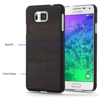 Cadorabo Hülle für Samsung Galaxy ALPHA in WOODY SCHWARZ - Hardcase Handyhülle aus Plastik gegen Kratzer und Stöße - Schutzhülle Bumper Ultra Slim Back Case Hard Cover - Vorschau 3