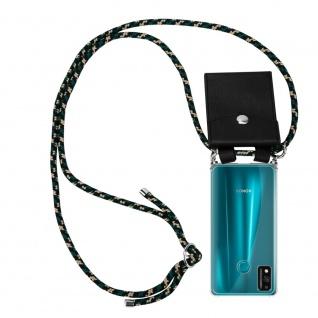 Cadorabo Handy Kette für Honor 9x Lite in CAMOUFLAGE Silikon Necklace Umhänge Hülle mit Silber Ringen, Kordel Band Schnur und abnehmbarem Etui Schutzhülle
