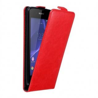 Cadorabo Hülle für Sony Xperia E3 in APFEL ROT - Handyhülle im Flip Design mit unsichtbarem Magnetverschluss - Case Cover Schutzhülle Etui Tasche Book Klapp Style