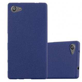 Cadorabo Hülle für Sony Xperia Z5 COMPACT - Hülle in FROST DUNKEL BLAU ? Handyhülle aus TPU Silikon im matten Frosted Design - Ultra Slim Soft Backcover Case Bumper