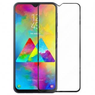Cadorabo Vollbild Panzer Folie für Samsung Galaxy M20 - Schutzfolie in TRANSPARENT mit SCHWARZ - Gehärtetes (Tempered) Display-Schutzglas in 9H Härte mit 3D Touch Kompatibilität