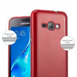 Cadorabo Hülle für Samsung Galaxy J1 2016 in ROT - Handyhülle aus flexiblem TPU Silikon - Silikonhülle Schutzhülle Ultra Slim Soft Back Cover Case Bumper - Vorschau 5