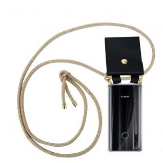 Cadorabo Handy Kette für Honor 20e in GLÄNZEND BRAUN Silikon Necklace Umhänge Hülle mit Gold Ringen, Kordel Band Schnur und abnehmbarem Etui Schutzhülle