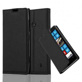 Cadorabo Hülle für Nokia Lumia 520 in NACHT SCHWARZ Handyhülle mit Magnetverschluss, Standfunktion und Kartenfach Case Cover Schutzhülle Etui Tasche Book Klapp Style