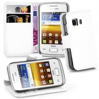 Cadorabo Hülle für Samsung Galaxy YOUNG 2 in ARKTIS WEIß - Handyhülle mit Magnetverschluss, Standfunktion und Kartenfach - Case Cover Schutzhülle Etui Tasche Book Klapp Style
