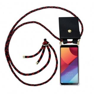 Cadorabo Handy Kette für LG G6 in SCHWARZ ROT - Silikon Necklace Umhänge Hülle mit Gold Ringen, Kordel Band Schnur und abnehmbarem Etui ? Schutzhülle