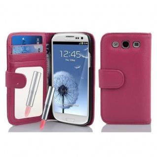 Cadorabo Hülle für Samsung Galaxy S3 / S3 NEO - Hülle in DEEP PINK ? Handyhülle mit Spiegel und Kartenfach - Case Cover Schutzhülle Etui Tasche Book Klapp Style