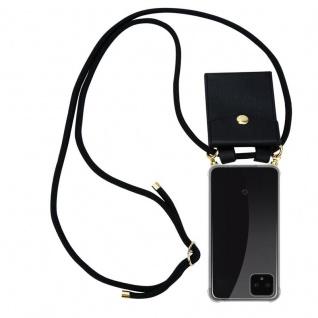 Cadorabo Handy Kette für Google Pixel 4 in SCHWARZ - Silikon Necklace Umhänge Hülle mit Gold Ringen, Kordel Band Schnur und abnehmbarem Etui ? Schutzhülle
