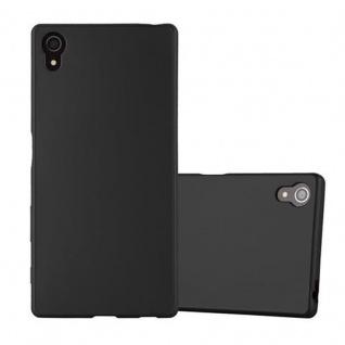 Cadorabo Hülle für Sony Xperia Z5 - Hülle in METALLIC SCHWARZ ? Handyhülle aus TPU Silikon im Matt Metallic Design - Ultra Slim Soft Backcover Case Bumper