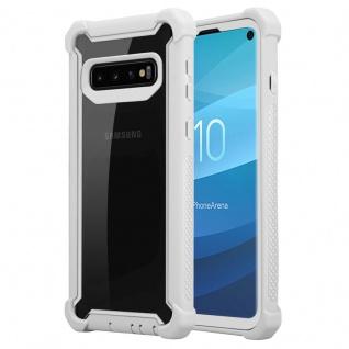 Cadorabo Hülle für Samsung Galaxy S10 PLUS in BIRKEN GRAU 2-in-1 Handyhülle mit TPU Silikon-Rand und Acryl-Glas-Rücken Schutzhülle Hybrid Hardcase Back Case