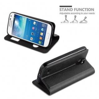 Cadorabo Hülle für Samsung Galaxy S4 MINI in KOMETEN SCHWARZ - Handyhülle mit Magnetverschluss, Standfunktion und 2 Sichtfenstern - Case Cover Schutzhülle Etui Tasche Book Klapp Style - Vorschau 4